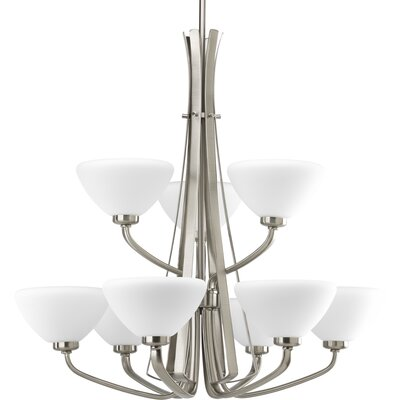 Rave 9-Light Shaded Chandelier Finish: Brushed Nickel