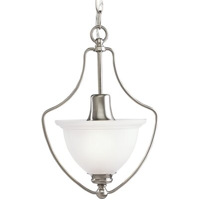 Gradall 1-Light White Shade Foyer Pendant Finish: Brushed Nickel