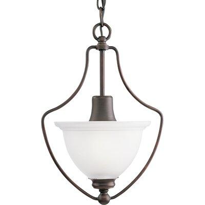 Gradall 1-Light White Shade Foyer Pendant Finish: Antique Bronze