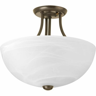 Maccharles 2-Light Semi-Flush Mount Finish: Antique Bronze, Glass: Alabaster