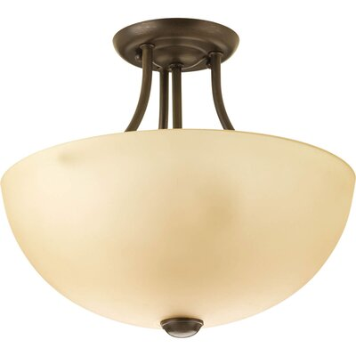 Random 2-Light Semi-Flush Mount Finish: Antique Bronze, Glass: Etched Umber