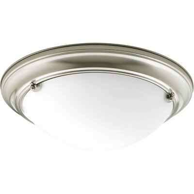 Eclipse 2-Light Flush Mount Finish: Brushed Nickel, Bulb Type: Compact Fluorescent