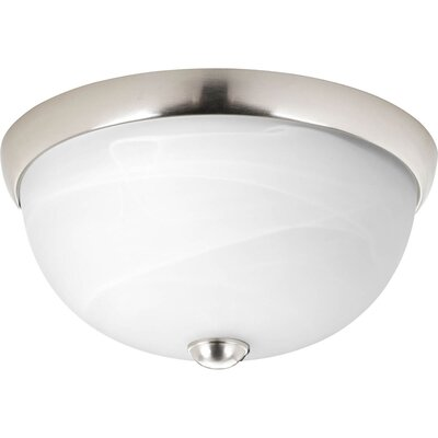 Maccharles 1-Light Flush Mount Finish: Brushed Nickel, Glass: Alabaster