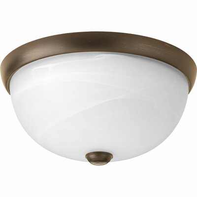 Maccharles 1-Light Flush Mount Finish: Antique Bronze, Glass: Alabaster