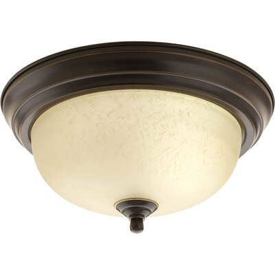1-Light Flush Mount Glass: Umber Linen