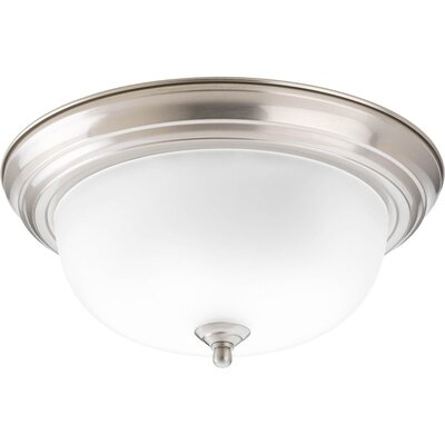 Rexroad 2-Light Glass Shade Flush Mount Finish: Brushed Nickel
