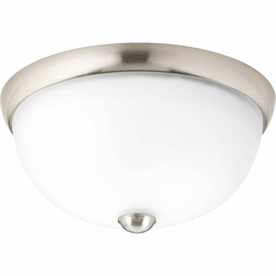 Maccharles 1-Light Flush Mount Finish: Brushed Nickel, Glass: Etched
