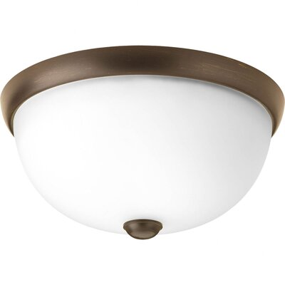 Maccharles 2-Light Flush Mount Finish: Antique Bronze, Glass: Etched