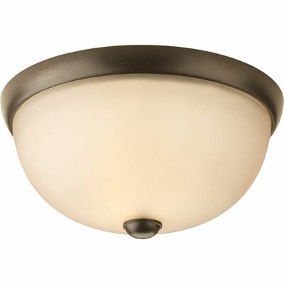 Maccharles 1-Light Flush Mount Finish: Antique Bronze, Glass: Etched Umber