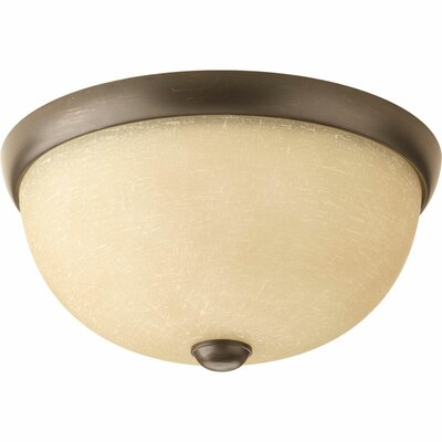 Maccharles 2-Light Flush Mount Finish: Antique Bronze, Glass: Umber Linen