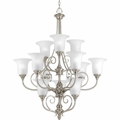 Terrie 12-Light Shaded Chandelier Finish: Brushed Nickel
