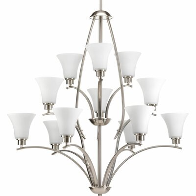 Jilliann Etched 12-Light Shaded Chandelier Finish: Brushed Nickel