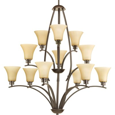 Jilliann Etched 12-Light Shaded Chandelier Finish: Antique Bronze