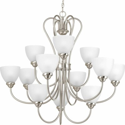 Heart 12-Light Shaded Chandelier Finish: Brushed Nickel