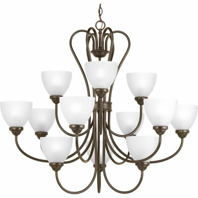 Heart 12-Light Shaded Chandelier Finish: Antique Bronze