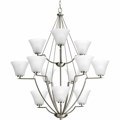 Karla Modern 12-Light Shaded Chandelier Color: Brushed Nickel with Etched Glass