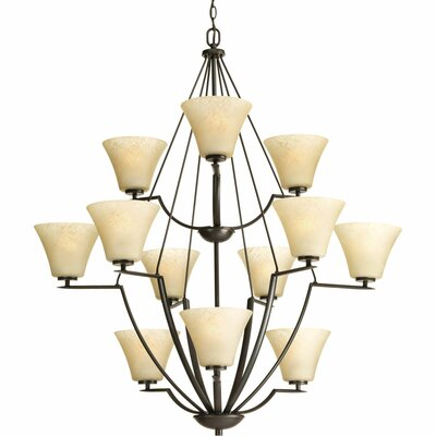 Bravo 12-Light Shaded Chandelier Finish: Antique Bronze with Umber Linen Glass