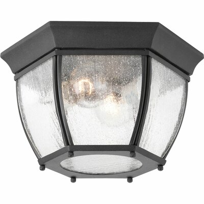 Triplehorn 2-Light Traditional Flush Mount Finish: Black