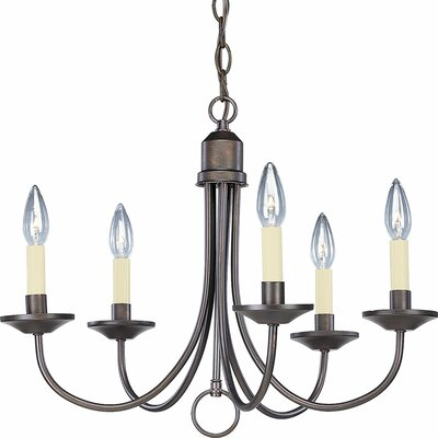 Brushed Nickel 5-Light Candle-Style Chandelier Finish: Antique Bronze