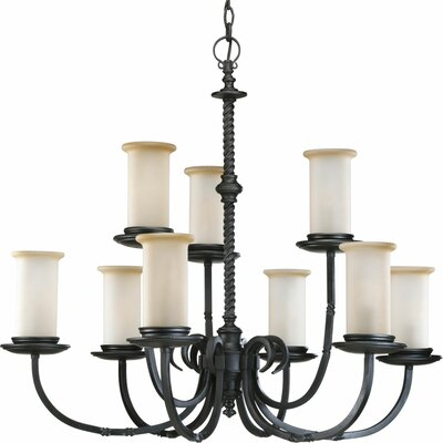Santiago 9-Light Shaded Chandelier Finish: Forged Black