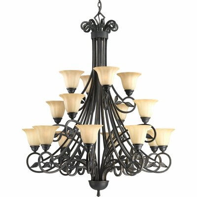 Triplehorn 16-Light Shaded Chandelier Finish: Espresso