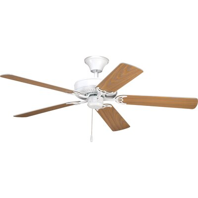 52 Henaghan 5-Blade Ceiling Fan Finish: White with White / Washed Oak Blades
