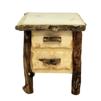 Aspen Grizzly 2 Drawer Nightstand Color: Beeswax / Linseed Oil