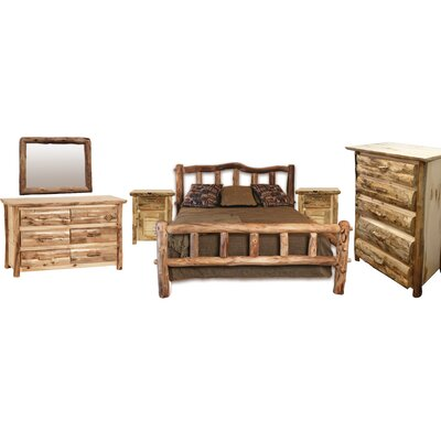 Rustic Arts� Panel 6 Piece Bedroom Set Finish: Wax, Size: Queen