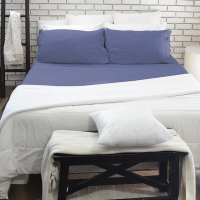 400 Thread Count 100% Cotton 4 Piece Sheet Set Color: Blue, Size: Queen