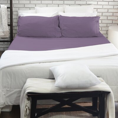 200 Thread Count 100% Cotton 4 Piece Sheet Set Color: Purple, Size: Double
