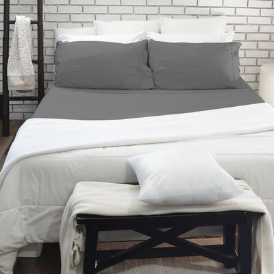 515 Thread Count Egyptian Quality Cotton 4 Piece Sheet Set Size: Queen, Color: Gray