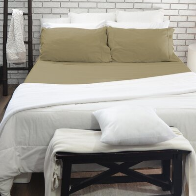 610 Thread Count 100% Cotton 4 Piece Sheet Set Color: Dark Khaki, Size: Queen