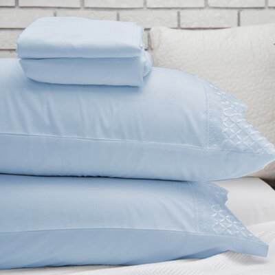 Lace Design Sheet Set Color: Light Blue, Size: Queen