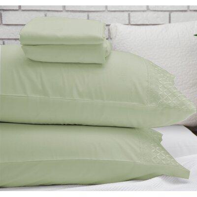 Lace Design Sheet Set Size: Queen, Color: Light Green