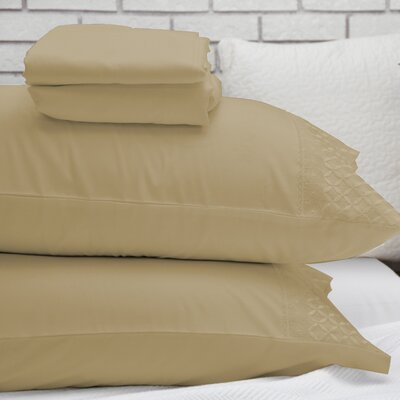 Lace Design Sheet Set Size: Queen, Color: Light Taupe