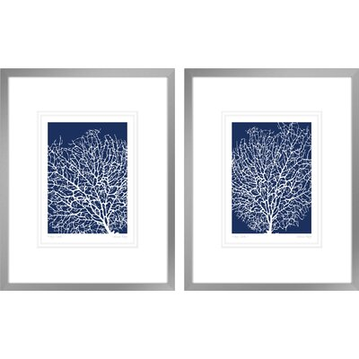 'Navy Coral I, Navy Coral II' by Berg Sabine 2 Piece Framed Graphic Art LNTS2450 40157843