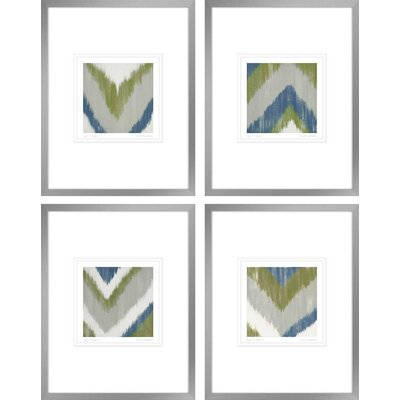 'Zigs n Zags I, II, III & IV' 4 Piece Framed Graphic Art Print Set POD60144PC