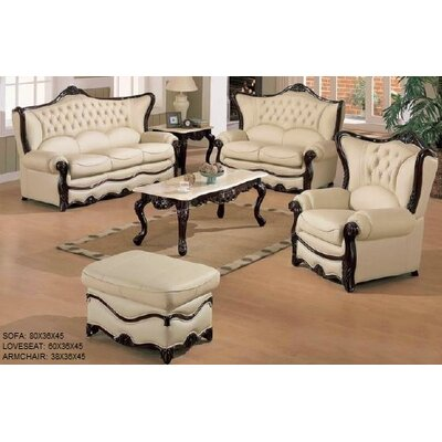 Elegant 3 Piece Leather Living Room Set