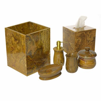 Polished Marble 6 Piece Bathroom Accessory Set KBBTH
