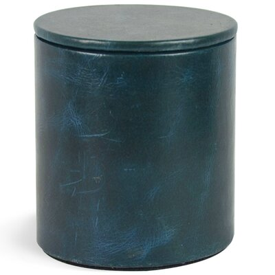 Macy Genuine Leather Round Storage Canister