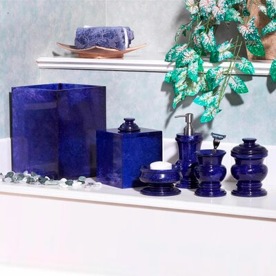 Trombly Polished Marble 5 Piece Bathroom Accessory Set Color: Royal Blue