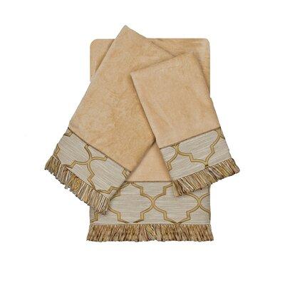 Ascot Embellished 3 Piece 100% Cotton Towel Set