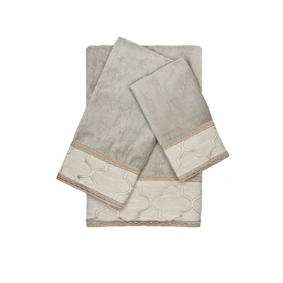 Ascot Decorative Embellished 3 Piece Towel Set