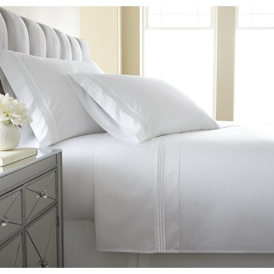 Charlotte Embroidered 300 Thread Count 100% Cotton Sheet Set Size: Queen, Color: White
