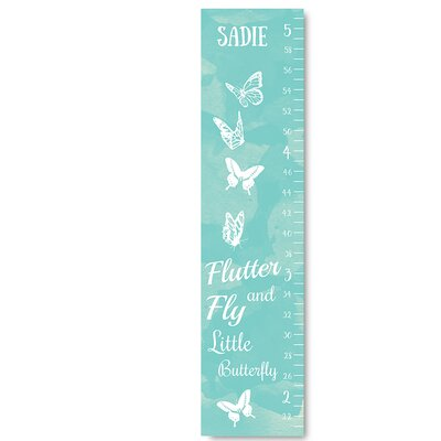 Personalized Kids Butterfly Blue Canvas Decal Growth Chart GC012a