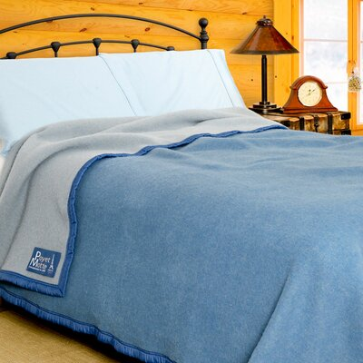Aubisque Heavyweight 100% Wool Blanket Color: Blue / Light Blue, Size: King