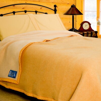 Aubisque Heavyweight 100% Wool Blanket Color: Maise / Natural, Size: Twin