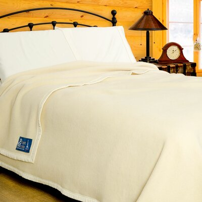 Aubisque Heavyweight 100% Wool Blanket Color: Natural, Size: Twin