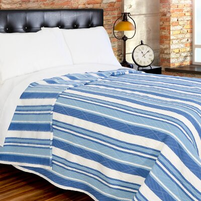 Fute Stripe 380 GSM Oversized Brushed Blanket Color: White/Blue, Size: King