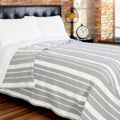 Fute Stripe 380 GSM Oversized Brushed Blanket Size: Twin, Color: White/Gray